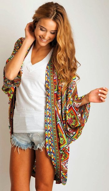 Sweater: kimono, tribal pattern, colorful, drape, shirt, clothes ...