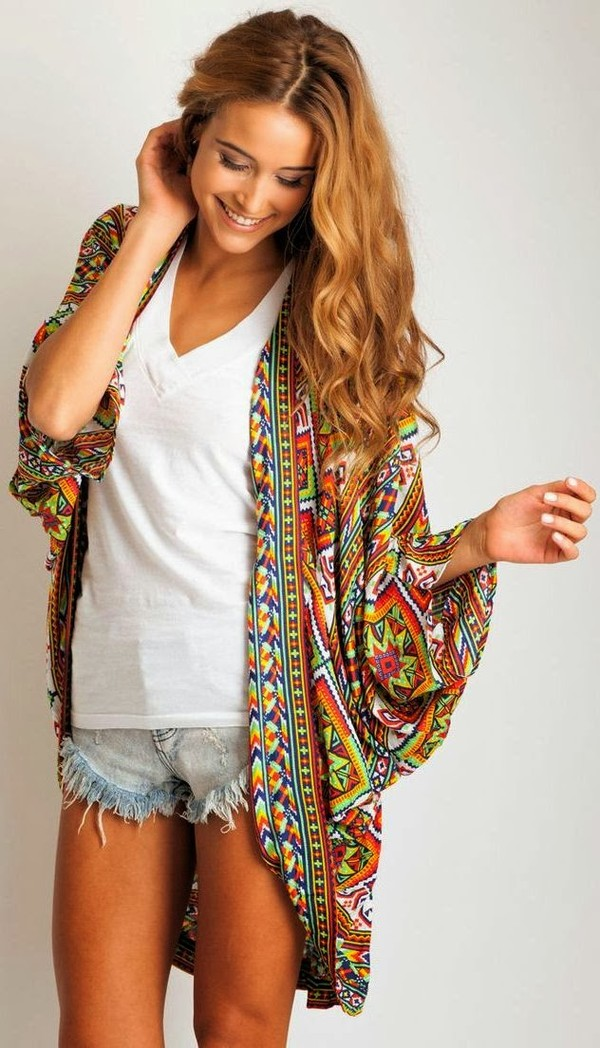 sweater kimono tribal pattern colorful drape shirt clothes blouse colorful pretty cute coat jacket pattern white v-neck distressed denim shorts cardigan orange tribal pattern tribal sweater oversized cardigan tribal cardigan oversized sweater tropical hippie pattern scarf nail polish colorful long aztec top shoal tribal pattern robe summer style comfy boho bohemian bohemian dress hippie poncho comfy cover up tie dye indie country bold patteren bold print cute top casual bright funny playful