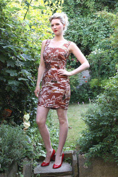 dress shift vintage brown print 1980s short party evening dress