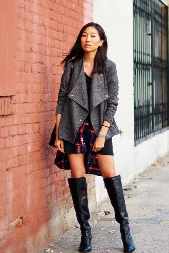 jacket blogger t-shirt dress dance in my closet knee high boots