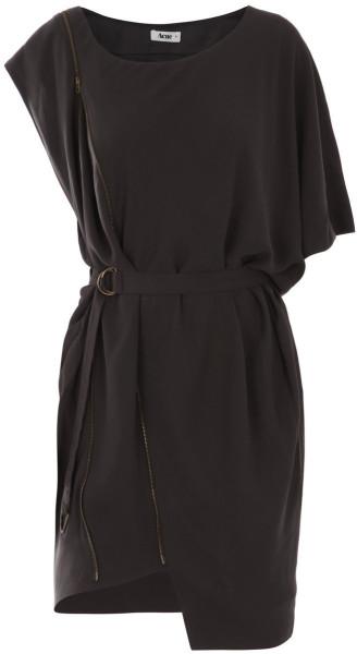 Acne asymmetric dress in gray (grey)