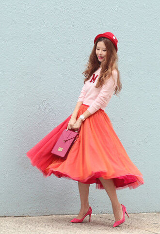 mellow mayo blogger red skirt midi skirt pink heels pink bag pink sweater