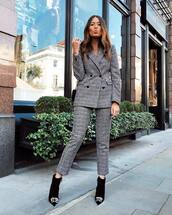 pants,checkered pants,cropped pants,booties,balenciaga,blazer,checkered