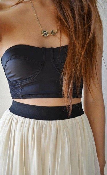 Tank top clothes black skirt necklace scarf shirt cute outfit pink long jewels rose ...