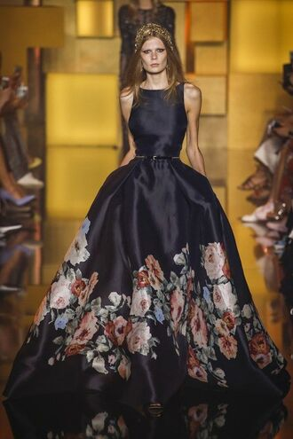 dress gorgeous cool runway black prom dress flowers couture dress roses
