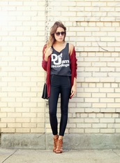 the marcy stop,blogger,cardigan,t-shirt,bag,sunglasses,jewels,sweater,tank top,pants,shoes