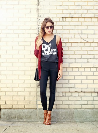 the marcy stop blogger cardigan t-shirt bag sunglasses jewels sweater tank top pants shoes