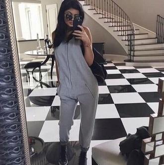 jumpsuit gray zip kardashians kylie jenner
