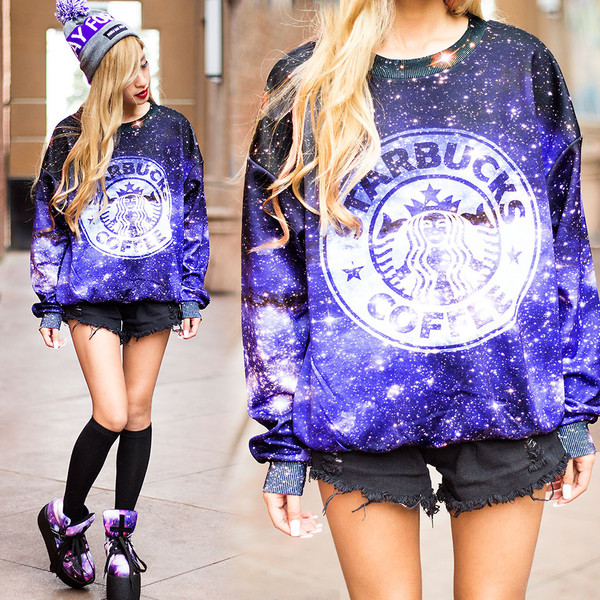 shirt romwe sweatshirt galaxy print starbucks coffee shoes