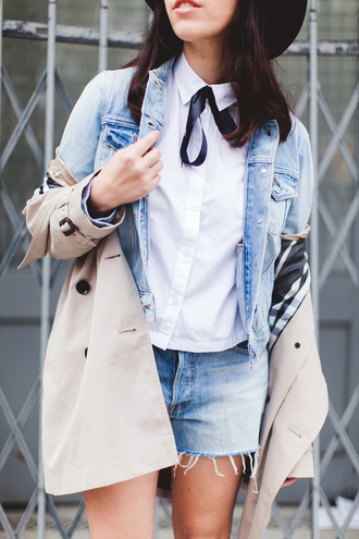 wish wish wish blogger jacket bag denim jacket denim shorts bows trench coat hat coat shirt shorts shoes