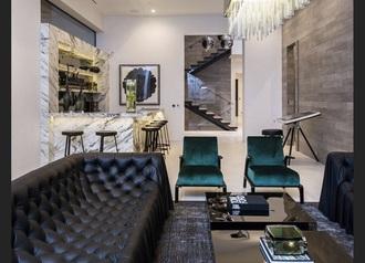home accessory black leather sofa modern