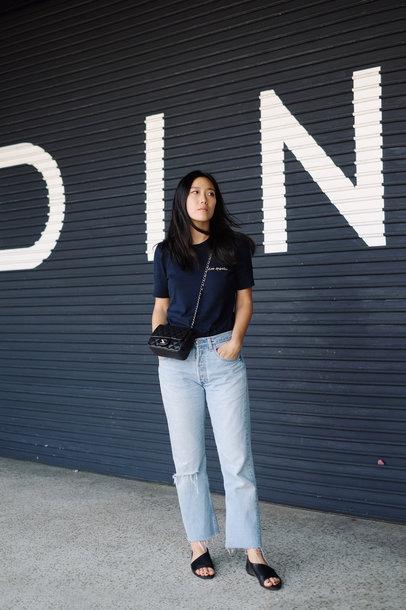 swimwear tumblr navy navy t-shirt denim jeans mom jeans shoes slide shoes