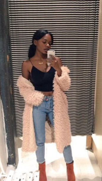 Cardigan: pink, oversized cardigan, fuzzy sweater, coat, fur coat ...