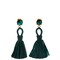 Raffia tassel-drop clip-on earrings