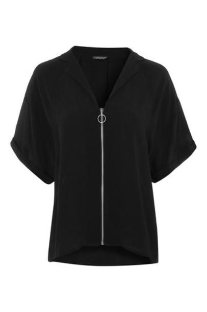 Topshop shirt zip black top