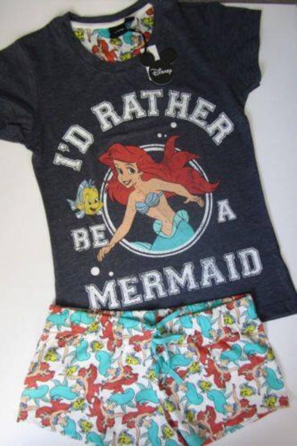 Primark disney ariel the little mermaid pyjamas lounge T shirt and shorts pyjamas