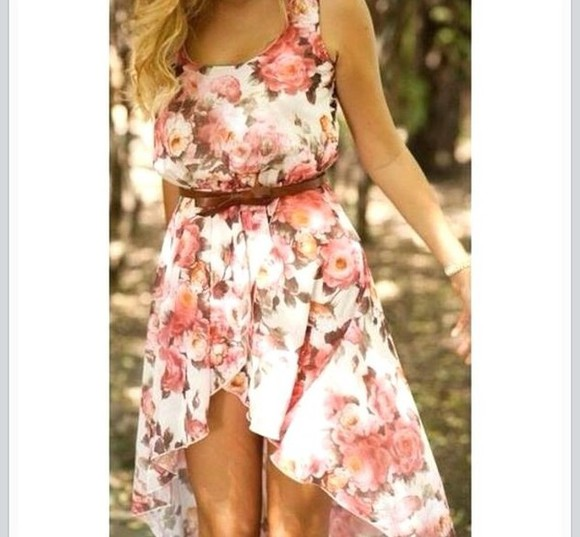 dress short mini dress flower white pink pink flowers pastel mini midi dress