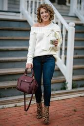something delightful,blogger,sweater,jeans,bag,shoes,jewels,fall outfits,white sweater,ankle boots,leopard boots