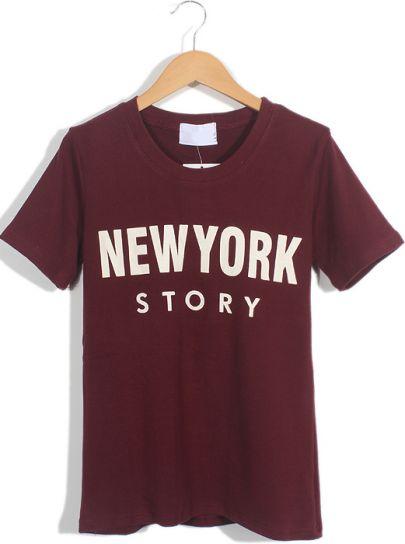 Wine Red Short Sleeve NEW YORK STORY Print T-Shirt