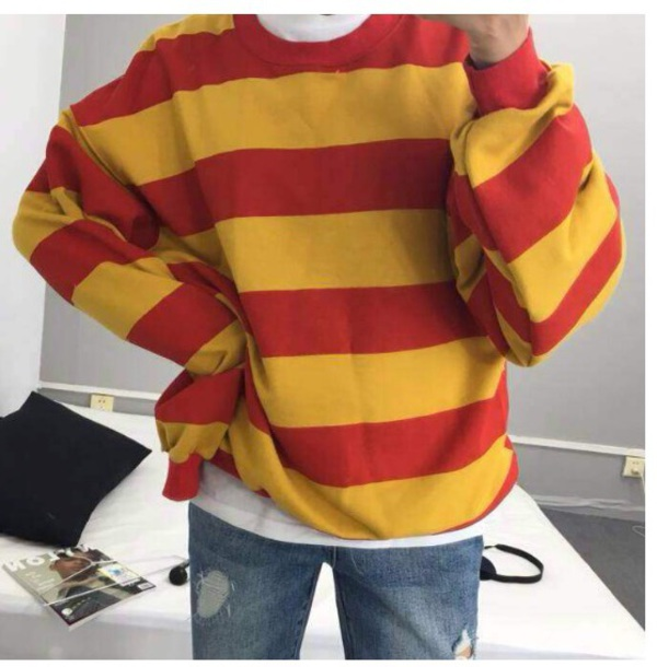 Sweater: tumblr, sweatshirt, jumper, red, yellow, stripes ...