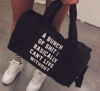 bag black bag white writing