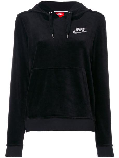 Nike - velour logo embroidered hoodie - women - Cotton/Polyester/Spandex/Elastane - M, Black, Cotton/Polyester/Spandex/Elastane