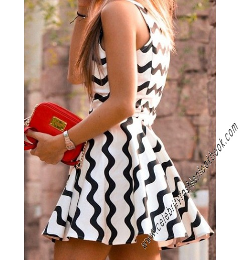 Striped Skater Dress - Party Dresses - Dresses - Clothing