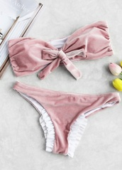 swimwear,girly,pink,bandeau bikini,bikini,bikini top,bikini bottoms,bow,velvet