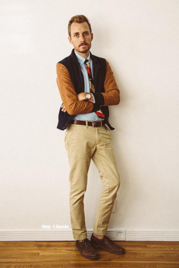 stay classic blogger jacket menswear beige teddy tie hipster menswear