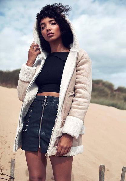 Suede Longline Shearling Hooded Jacket - Beige