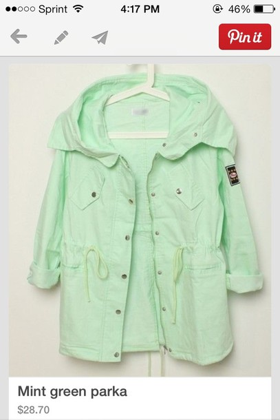 coat mint parka jacket mint green pastel pastel green