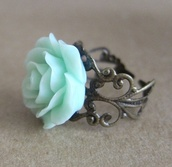 jewels,antique look,ring,rose,teal,flower ring,floral,flowers,jewelry,silver,silver ring,tiffany blue,light blue,mint,antique ring,antique,accessories,green,blue wedding accessory