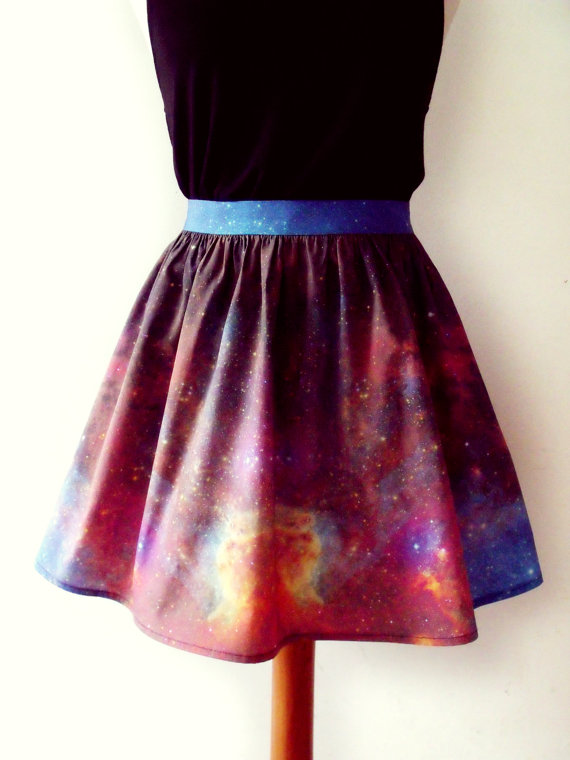 Galaxy skirt cosmic nebula skater flippy fitted mini by luminia