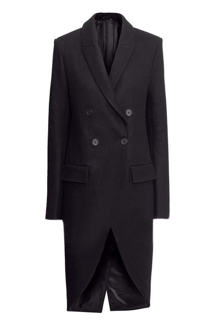ROMWE | Romwe Double-breasted Tuxedo-style Extra-long Blue Coat, The Latest Street Fashion
