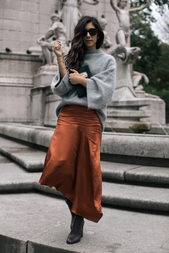 sweater tumblr grey sweater knit knitwear knitted sweater skirt maxi skirt asymmetrical skirt asymmetrical sunglasses boots black boots