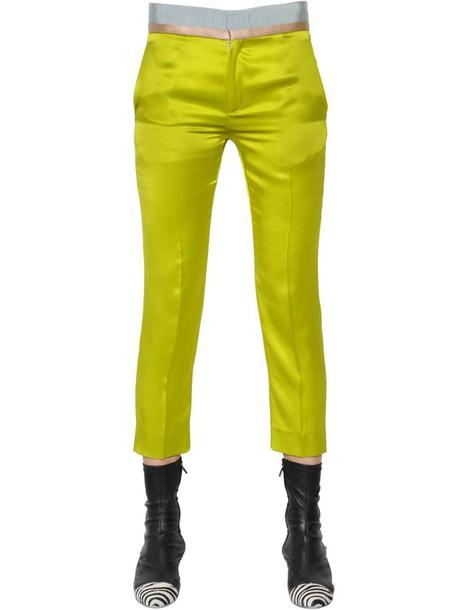 Haider Ackermann pants cropped silk satin light green