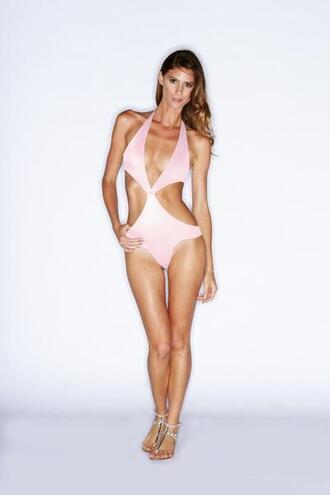 swimwear monokini pink rose pink one piece bathing suit