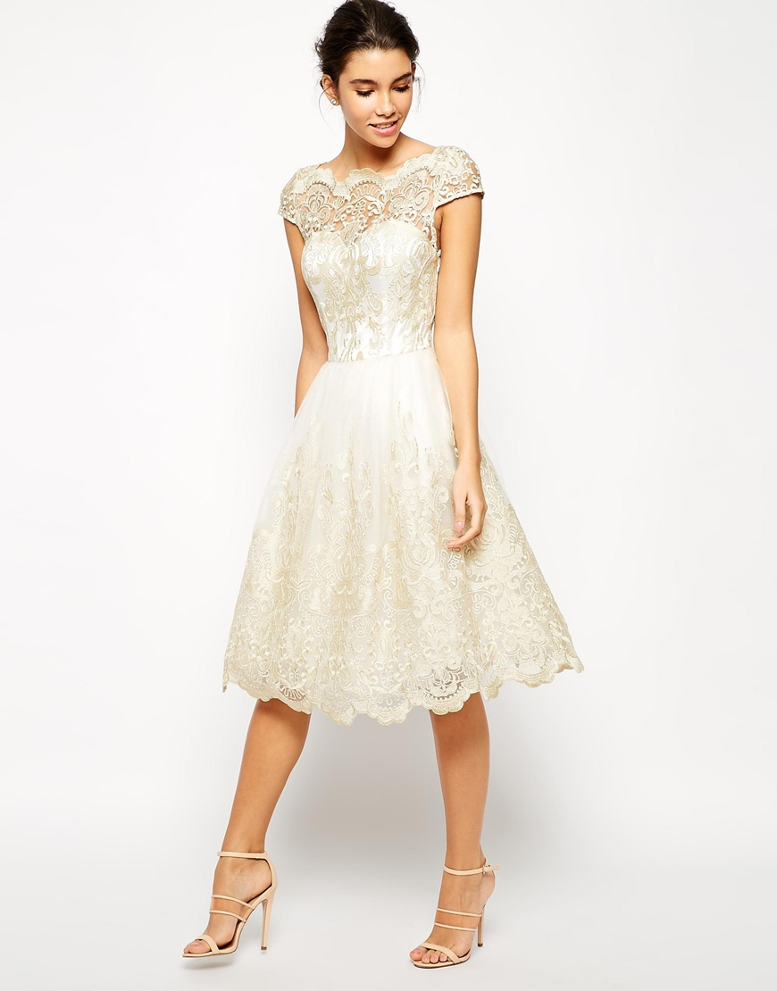 a273d8082c3f Chi Chi London Premium Metallic Lace Midi Prom Dress with Bardot Neck at  asos.com