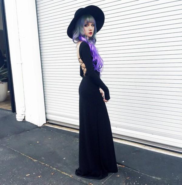 dress black dress hat wide hat witch goth 92348b8ec36