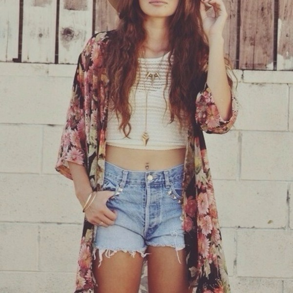tank top sweater shorts jewels jewelry cardigan floral