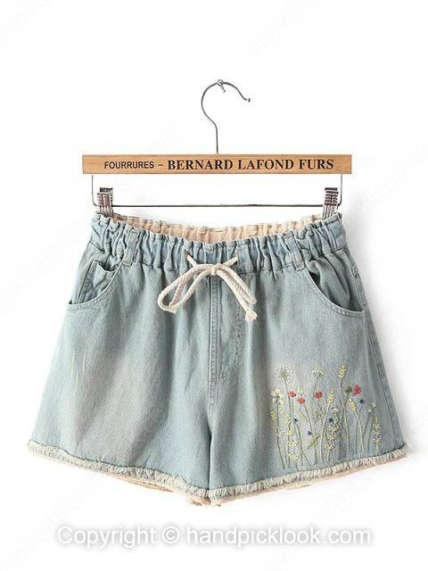 Light Blue Bleached Denim Shorts - HandpickLook.com