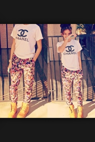pants chanel t-shirt floral pants timberlands cute outfits urban pretty colorful