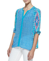 top,june long-sleeve butterfly-print tunic,tolani