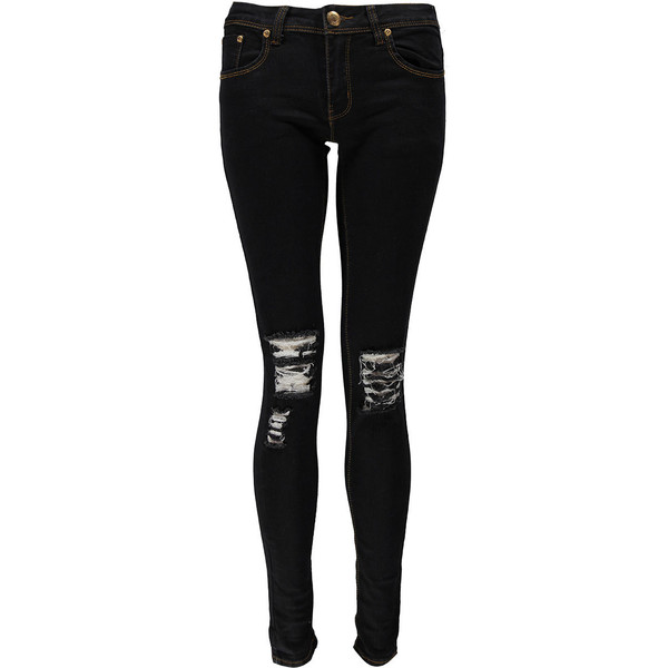 Boohoo Loren Distressed Ripped Knee Skinny Jeans - Polyvore