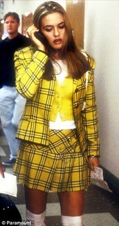 jacket,skirt,clueless,yellow skirt,yellow jacket,plaid,plaid skirt,school uniform,yellow,blazer,cardigan,yellow coat with stripes,shorts,cher horowitz