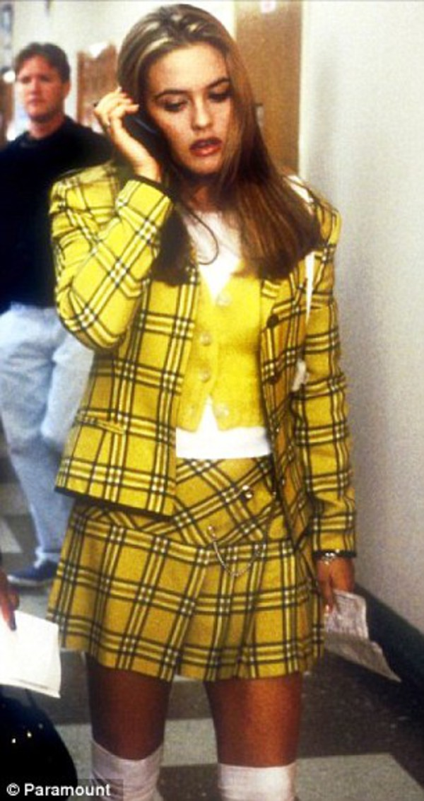 jacket skirt clueless yellow skirt yellow jacket plaid plaid skirt school uniform yellow blazer cardigan yellow coat with stripes shorts cher horowitz