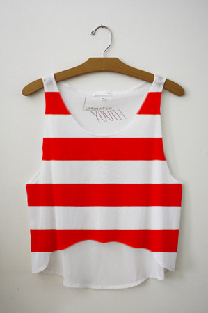 Red striped crop top from luminated youth on storenvy ($25.00)