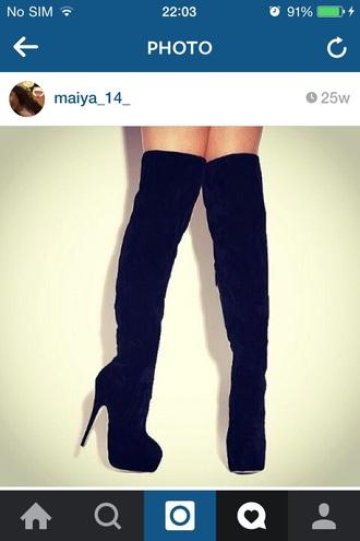 shoes knee high heels black high women