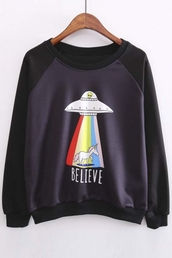 sweater,fall outfits,black,fashion,style,alien,funny,rainbow,teenagers,unicorn,winter outfits,fall sweater,winter sweater,beautifulhalo