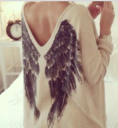 Cute v back design wing shirt sweater top
